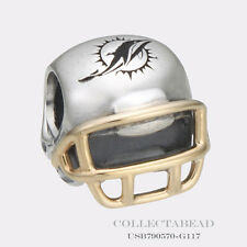 Authentic Pandora Silver & 14K Gold Miami Dolphins Helmet Bead USB790570-G117