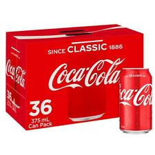 Coca-Cola Coke Classic Soft Drink Multipack Cans 36 x 375mL Pack