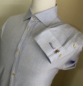 New $780 Gucci Men's Dress Shirt Blue 43/17 Italy