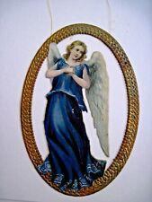 Vintage Die Cut Angel Christmas Ornament w/ Angel in Gold Oval  *
