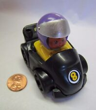 Fisher Price Little People WHEELIES MICHAEL in BLACK RACE CAR Indy Racer