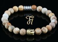 Landschafts Jaspis Armband Bracelet Perlenarmband Buddhakopf gold 8mm