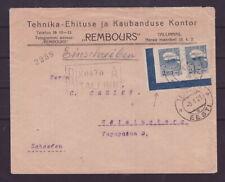 Estland 1921 R-Brief nach Schweden Bogenecke interessanter Beleg    s100