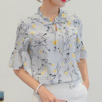 Women Girl Chiffon Casual Shirts Floral Printing Short Sleeve Blouse Casual Tops