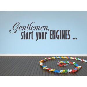 Gentlemen Start Your Engines Wall Sticker Racing Quote Wall Decal Garage Decor