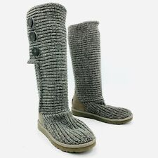 Ugg Australia Cardy Triple Button Greay Knit Sweater Boots Womens Size 7