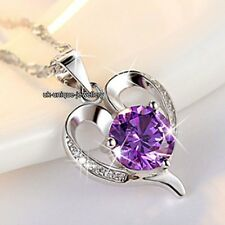 Xmas Gifts For Her - 925 Silver Purple Crystal Heart Necklaces Girlfriend Women