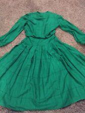 RONNIE HELLER MJ Vintage Green Pleated  Full Skirt Dress size 4 #83 Secretary