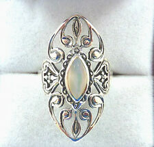 Natural White Mother of Pearl 925 Sterling Silver Filigree Victorian Style Ring