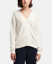 DKNY Womens Cotton Lace-Up Sweater (Ivory, Large)