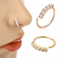 Nose Ring Ear Hoop Tragus Helix Cartilage Earring Crystal Stainless Steel