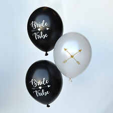 10 x BRIDE TRIBE HEN PARTY BALLOON PACK - 5 Black / 5 White & Gold Balloons 12""