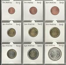 SAN MARINO 2007 - COMPLETE SERIE - 1 cent tot en met 2 euromunt + de € 5,=.