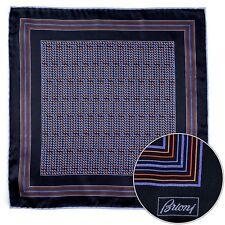 Men's BRIONI Navy Orange Silk Hand Rolled Pocket Square Handkerchief Hanky