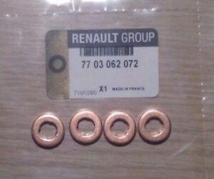 4X Genuine Renault 1.5/1.9/2.2/2.5 dci Diesel Injector Seal Washers 7703062072