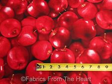 Red Apples Real Fruit Toss on Black BY YARDS Timeless Treasure Cotton Fabric