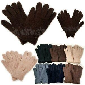 6-12 Pair Men Women Fuzzy Cozy Warm Magic Winter Gloves Knit Knitted Stretch Lot