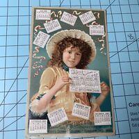 Hoyt's German Cologne 1889 Ladies Calendar Lowell Mass Trade Card