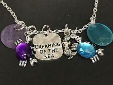 "Beach Dream of Sea Crab Blue Purple Charm Tibetan Silver 18"" Necklace C45"