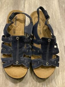 Collection By Clarks Womens 10 W Blue Lexi Marigold Sandals NWOB
