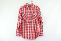 Vintage 80s Mens Large Long Sleeve Double Pocket Thick Flannel Plaid Shirt Red
