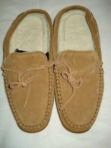 Dearfoams Womens Shearling Slipper Size11 Suede Tan Moccasin