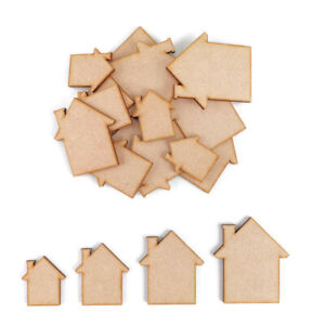 House MDF Craft Shapes Wooden Blank Gift Tags Decoration Embellishments New Home