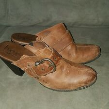 BOC Brown Camel Leather Clogs-Size 8
