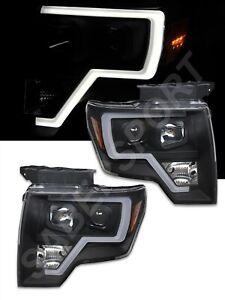 Pair Eagle Eyes Black Headlights w/ LED Tube Bar Halogen Ver. for 2009-2014 F150