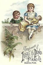 1880's Ivers & Pond Piano Co. Girls w/ Large Doll Trade Card P118