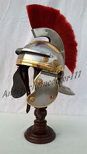 Roman legionaire soldier centurion halloween steel helmet armor with red plume