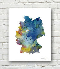 GERMANY MAP 2 Contemporary Watercolor Abstract ART Print by Artist DJR