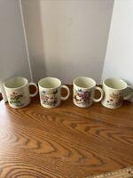 Set of 4 Vintage Stoneware Coffee Mugs Flowers Butterflies Japan Set