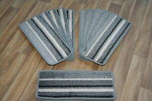 14 Striped Open Plan Carpet Stair Treads Funky Silver 035 14 Large Pads!