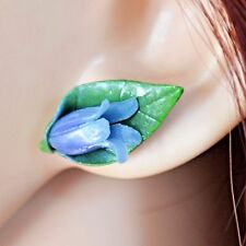 Bluebell Stud Earrings, Handmade Polymer Clay, Summer, Spring Flowers, Nature.