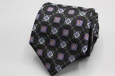 PATRICK JAMES Silk Tie. Black w Blue Purple Floral.
