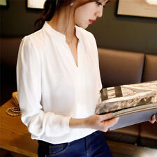 FT Women's Ladies Long Sleeve Loose Blouse Autumn V Neck Casual Shirt Tops FT