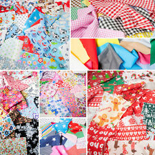 Fabric Remnants SCRAPS Bundle Offcuts Poly cotton Christmas Children's Floral