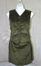 Womens Vtg 80s Lizsport 2 pc Corduroy Moss Green Vest & Skirt size 8/10 New Nos