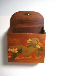 Vtg Wood Wall Hanging letter mail recipe Holder box primitive country duck
