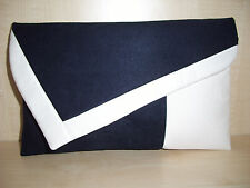 OVER SIZED NAVY & WHITE asymmetrical faux Suede clutch. Handmade in the UK.
