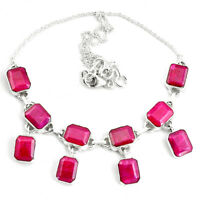 40.73cts Natural Red Ruby 925 Sterling Silver Necklace Jewelry P76794