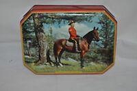 Vintage RILEYS TOFFEE candies CANADIAN MOUNTIE ON PATROL ADVERTISING TIN horse