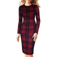 LENA GORGEOUS RED & NAVY CHECK SIZE 10 STRETCH PENCIL DRESS NEW SEASON - WORK