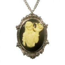 Real Metal JewelryGothic Zombie Cameo Ivory on Black in Frame Pewter Necklace