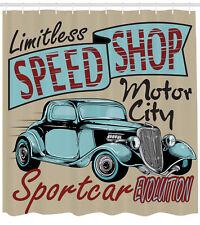 Antique Car Auto Sports Add Retro Rustic Colors Art Design Shower Curtain Set