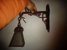 Ancienne Lampe Lanterne de Cour Applique Art Déco en Fer forgé Potence Enseigne