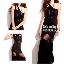 womens black cocktail party bodycon maxi dress size 10 au new