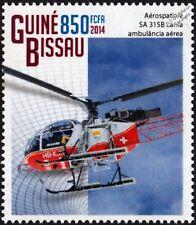 AEROSPATIALE SA 315B LAMA Swiss Air Ambulance Helicopter Aircraft Stamp (2014)