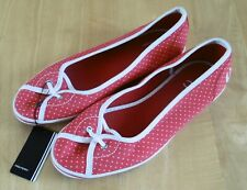 Ladies Fred Perry Fire Red Polka Dot Canvas Pumps - UK Size 8 (BNWT)